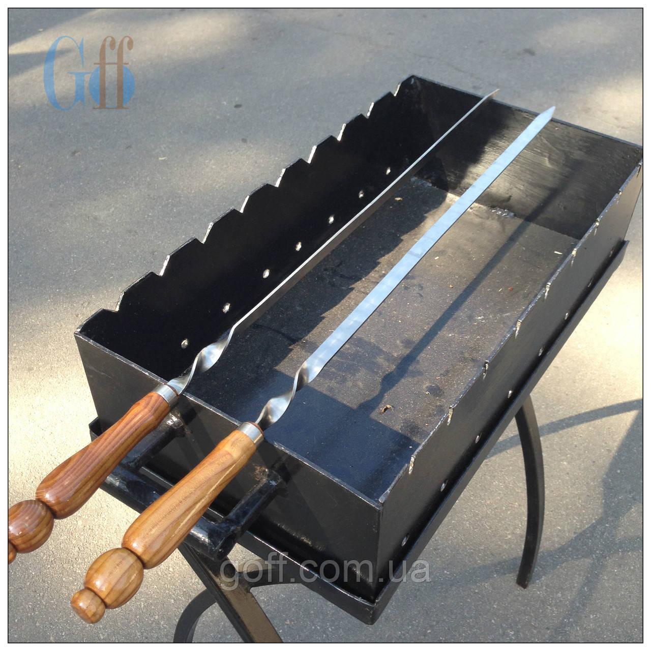 Шампур плоский, Шампур с деревянной ручкой, Шампур 71 см.