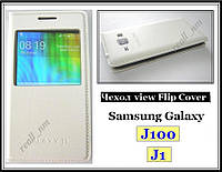 Белый кожаный чехол-книжка View Cover для смартфона Samsung Galaxy J100 J1, фото 1