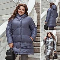 Женская двухсторонняя зимняя куртка №2711 (р.48-58) серый+серебро, фото 1