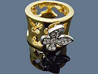 Кольцо женское , позолота , Италия широкое 0096