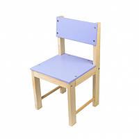 Детский стульчик со спинкой из натурального дерева (сосна) 32 см Фиолетовый