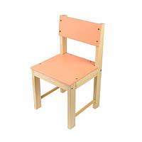 Детский стульчик из натурального дерева (сосна) со спинкой 32 см Оранжевый