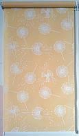 Готовые рулонные шторы 300*1500 Ткань Одуванчики Персик 5428/9