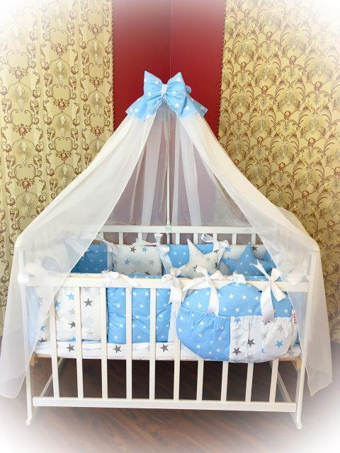 Детское постельное белье в кроватку ТМ Bonna Elite Голубое со звездами