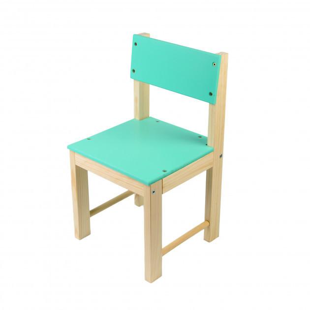 Детский стульчик со спинкой из натурального дерева (сосна) 28 см Салатовый