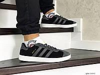 Мужские кроссовки Adidas Gazelle,замшевые,черные с серым