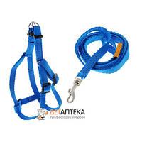 Шлея Dog Extreme нейлоновая с регулированным поводком для собак 10 мм 28-40 см синяя COLLAR 07022