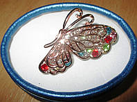 Золотая брошь- цветная бабочка от студии LadyStyle.Biz, фото 1