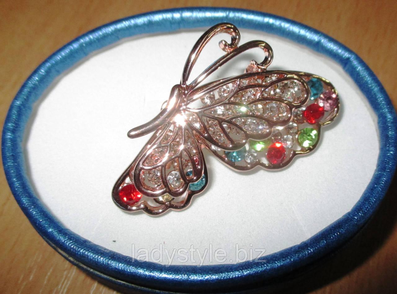 Золотая брошь- цветная бабочка от студии LadyStyle.Biz