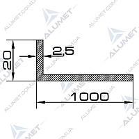 Уголок алюминиевый 100х20х2.5 мм анодированный