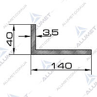 Уголок алюминиевый 140х40х3.5 мм без покрытия БПО-5403