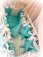 Детское постельное белье в кроватку ТМ Bonna Elite Бирюзовый горох, фото 2