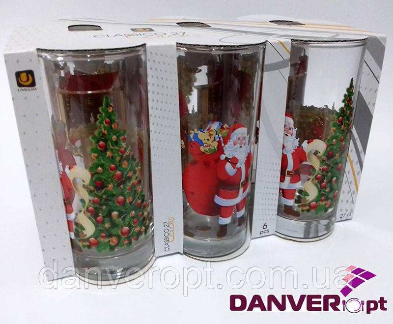 Стакан новогодний SANTA CLAUS стеклянный высокий 270 мл, купить оптом со склада Одесса 7км