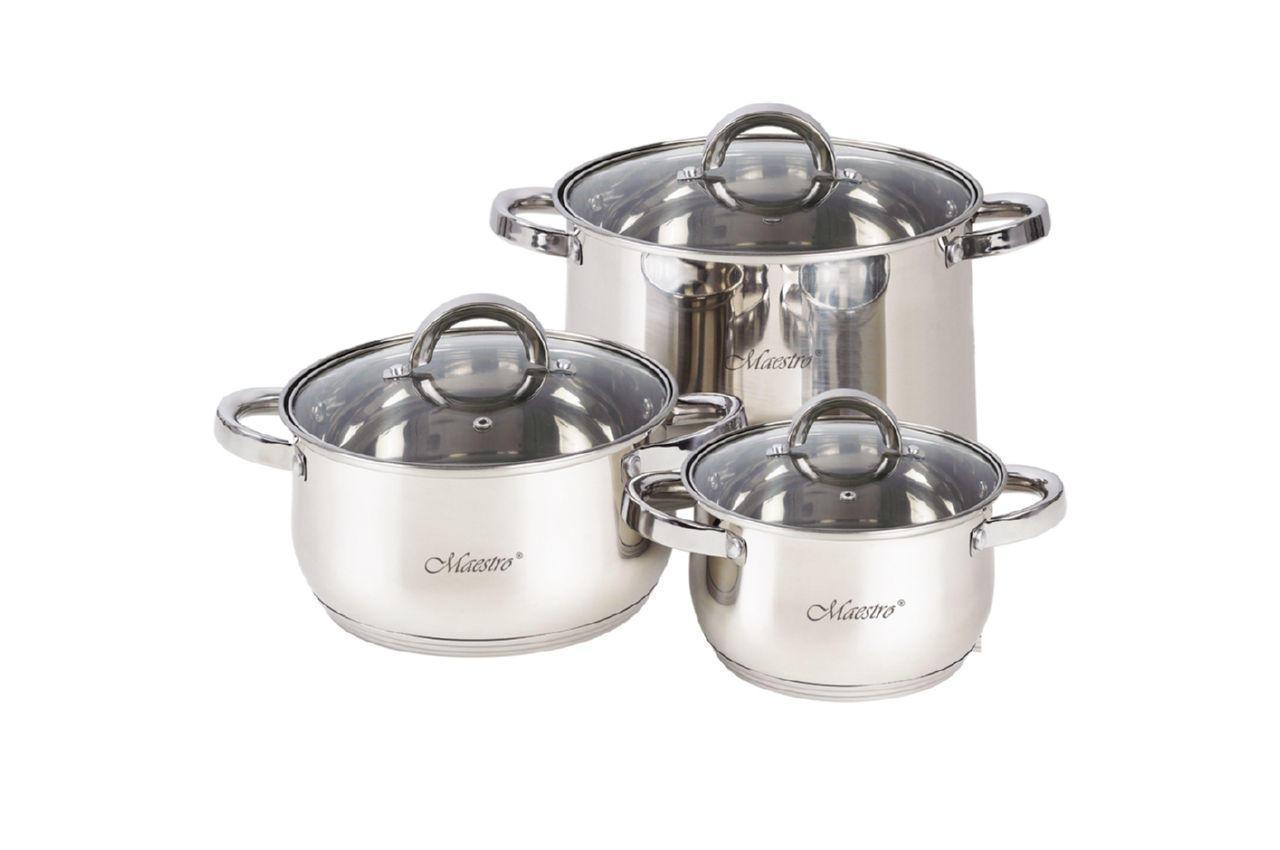 Набор посуды нержавеющий Maestro - 1,5 x 3 x 5 л (3 шт.) MR-2120-6L