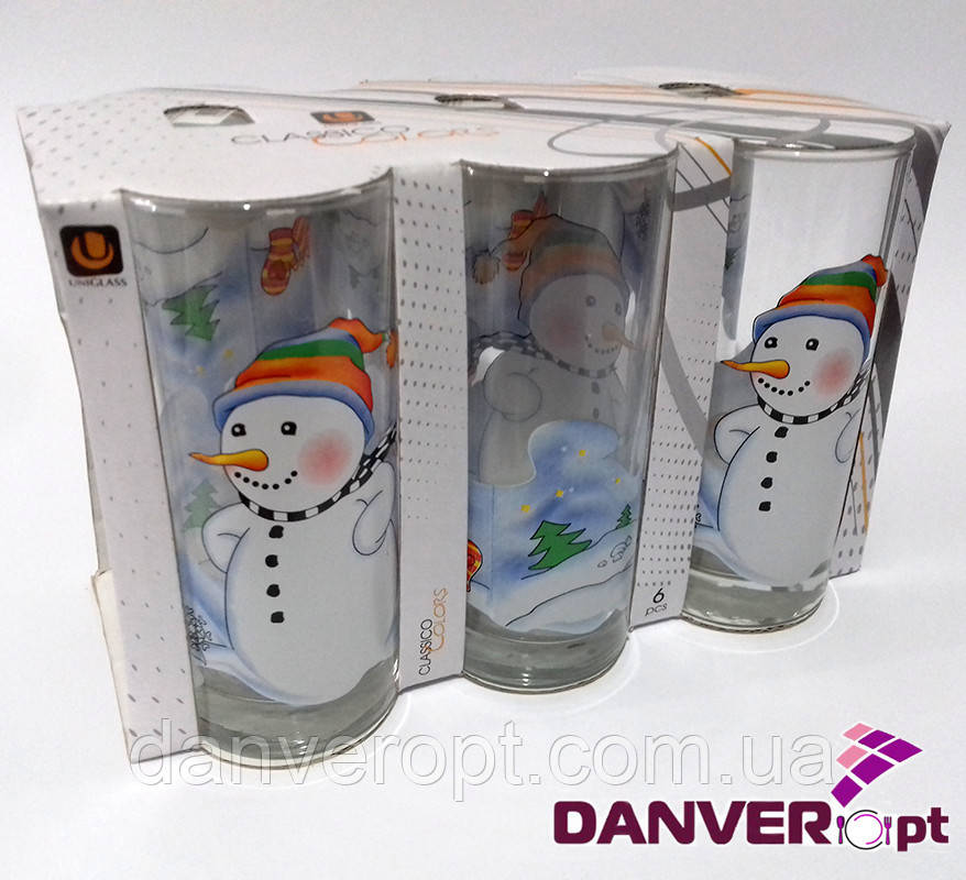 Стакан новогодний  SNOW MAN стеклянный высокий 270 мл, купить оптом со склада Одесса 7км