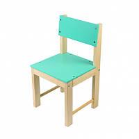 Дитячий стілець зі спинкою з натурального дерева (сосна) 24 см Салатовий