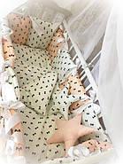 Детское постельное белье в кроватку ТМ Bonna Elite Бело-персиковое в бантик, фото 2