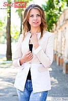 Пиджак женский удлиненный на пуговице - Бежевый с белым