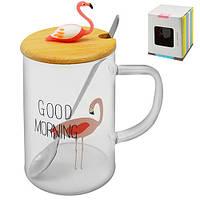 """Чашка с крышкой и ложкой """"Flamingo glass"""" 450мл"""