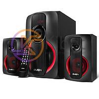 Колонки 2.1 Sven MS-304 Black/Red, сателлиты 2 x 10 Вт, сабвуфер 20 Вт, 150-20000Hz, МДФ, Bluetooth, питание от сети 220V, управление сзади, пульт