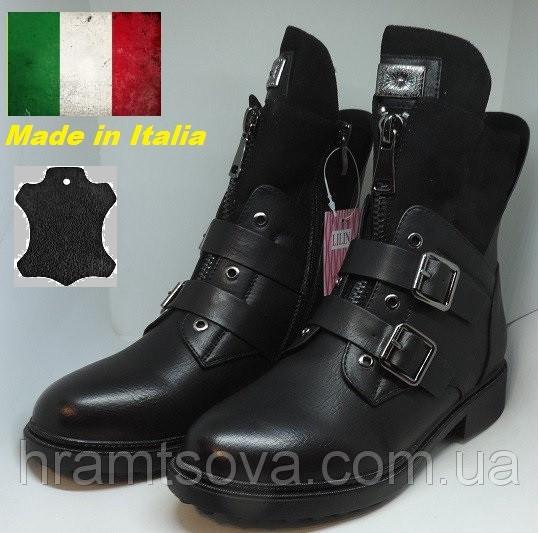 Женские зимние кожаные ботинки сапоги утепленные с мехом. Страна бренда-Италия.
