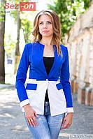 Пиджак женский удлиненный на пуговице - Синий с белым