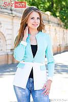 Пиджак женский удлиненный на пуговице - Бирюзовый с белым