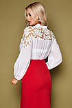 Блузка женская с кружевом белая Аяна, фото 3