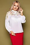 Блузка женская с кружевом белая Аяна, фото 4