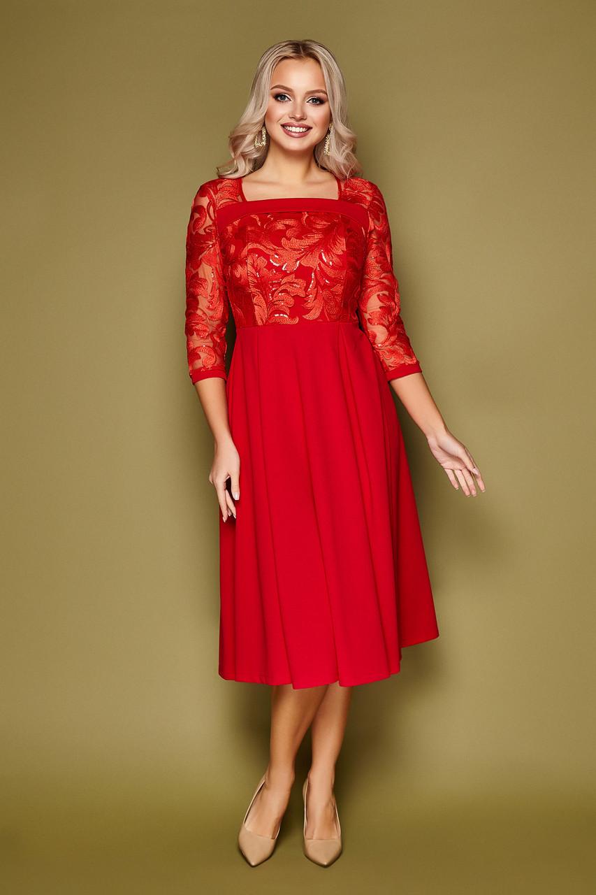 Платье коктейльное красное Тифани