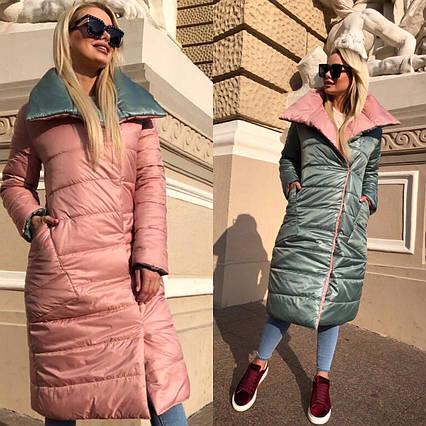 """Женское зимнее пальто на синтепоне 8020 """"Канада Двухсторонняя"""" в расцветках"""