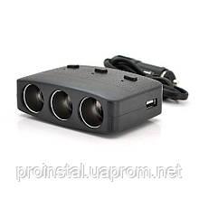 АЗУ разветвитель Olesson 1636, 12V-3*12V+2*USB, Black, Blister
