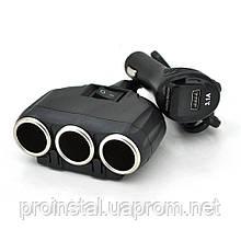 АЗУ разветвитель+ вольтметр Olesson 1634, 12V-3*12V+USB, Black, Blister
