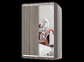 Шкаф-Купе Двухдверный Классик-1 ДСП Дуб Сонома Трюфель, зеркало с пескоструем 51hl (Luxe-Studio TM)