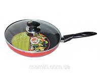 Сковородка HILTON FP 2430 d24см с крышкой красная (ИД)