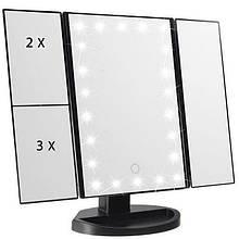 Зеркало для макияжа с LED подсветкой SUPESTAR MAGNIFYING MIRROR Черное