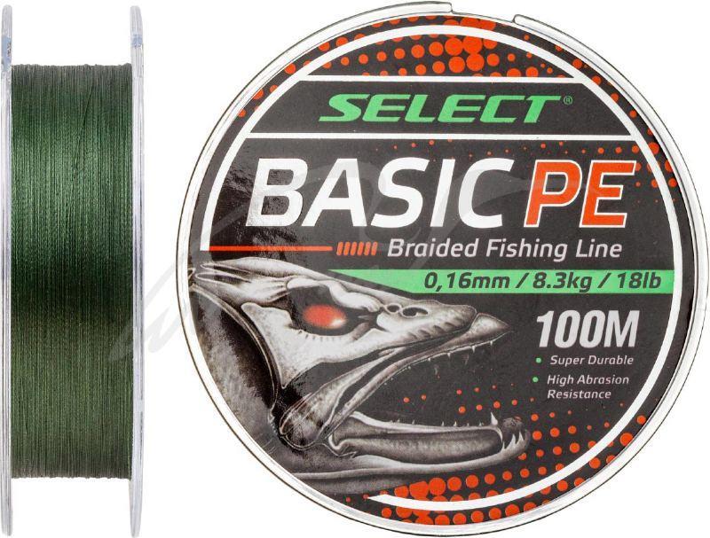 Шнур Select Basic PE 100m (темн.зелен.) 0,16мм 18LB/8,3kg 1870.27.63