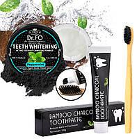 Набор! Зубной порошок из Активного Угля Кокоса, + Угольная зубная паста, + Бамбуковая Зубная щетка США