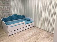"""Кровать """"Л-6"""" односпальная детская  с мягкой спинкой  и подушками Lion"""