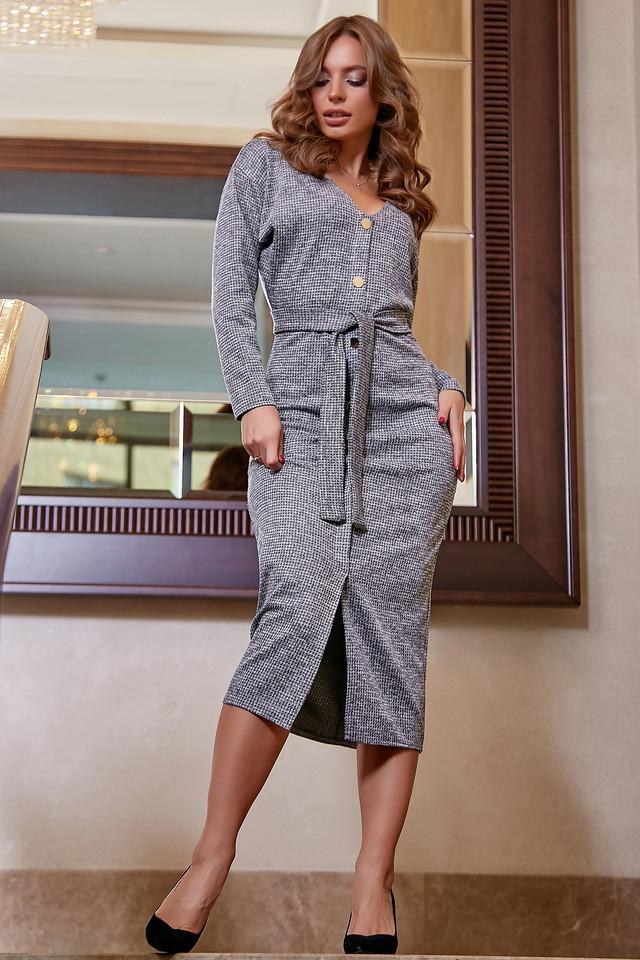 Офисное платье женское, размеры от 42 до 52, трикотаж, серое