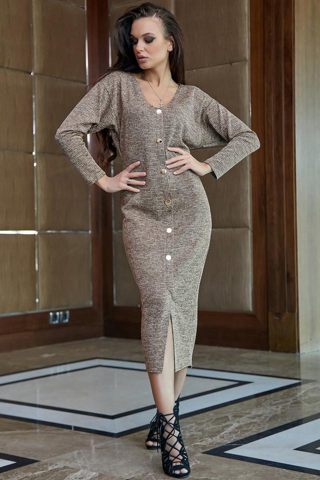 Повседневное платье женское, размеры от 42 до 52, трикотаж, оливковое
