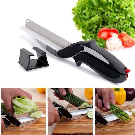 Універсальні кухонні ножиці Clever cutter / ніж-ножиці 3 в 1 / розумні ножиці, фото 2