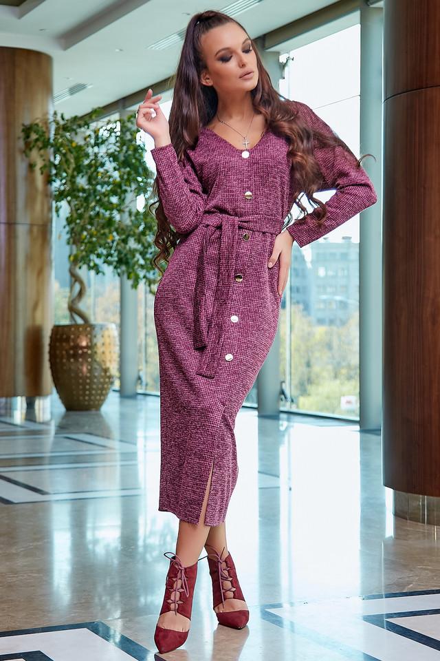 Красивое платье женское миди, размеры от 42 до 52, трикотаж, марсала