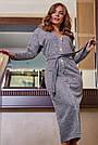 Офисное платье женское, размеры от 42 до 52, трикотаж, серое, фото 3