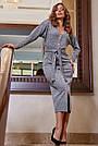 Офисное платье женское, размеры от 42 до 52, трикотаж, серое, фото 4