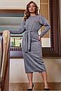 Офисное платье женское, размеры от 42 до 52, трикотаж, серое, фото 2
