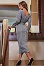 Офисное платье женское, размеры от 42 до 52, трикотаж, серое, фото 7