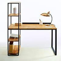 """Стол офисный """"Моменто"""", стол письменный, стол письменный с натурального дерева на металлическом подстолье"""