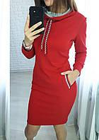 Теплое платье в спортивном стиле высокий воротник миди