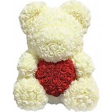 Мишка из роз Белый с сердцем UTM 38 см